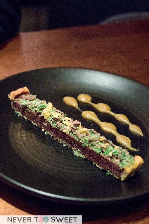 Housemade chocolate and salted caramel tart $12