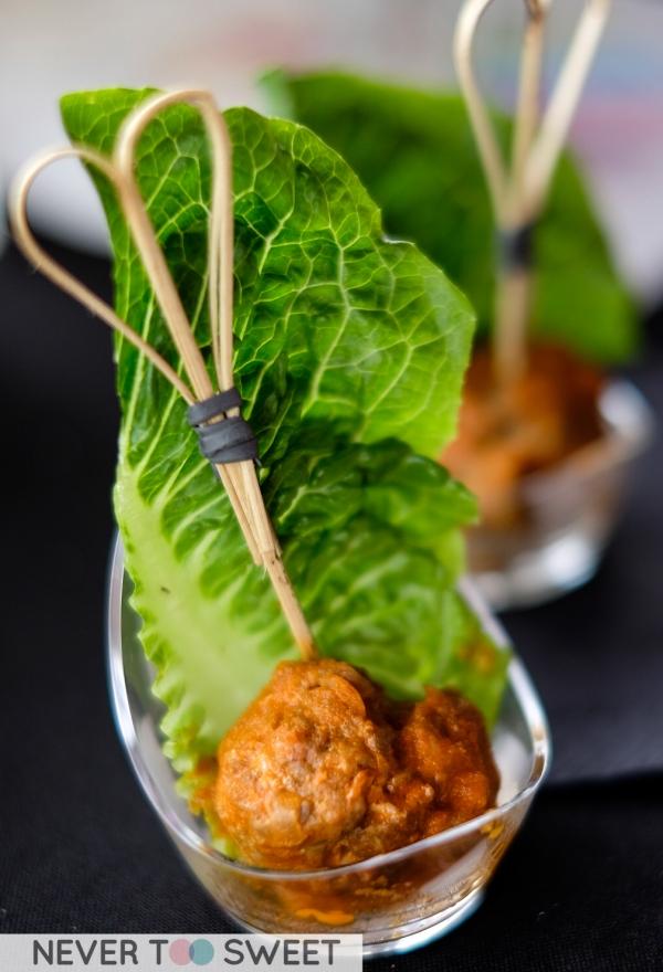 Pork meatball with ice berg lettuce